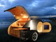 This 5x9 custom built Teardrop trailer known as the Bandit is one of several models available for campers from  Vacations in a Can  which combines retro style with stylish accessibility for road trips.