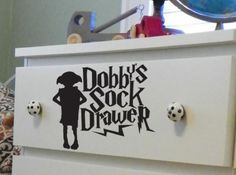Dobby's Sock Drawer Dresser Decal - hopefully my kid will want a Harry Potter bedroom Baby Harry Potter, Décoration Harry Potter, Harry Potter Nursery, Cute Sticker, Mischief Managed, My New Room, Vinyl, Just In Case, Nerdy