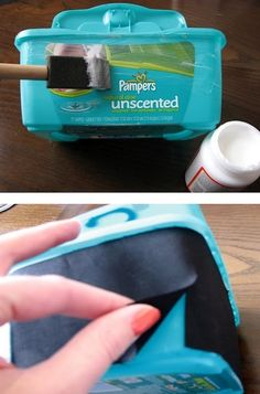 It seems like we blow through a million diapers a week, let alone the baby wipes that are thrown away and forgotten. Instead of tossing the box the wipes come in, save them for these cool crafts!