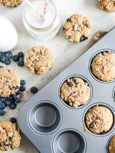 Whole Wheat Blueberry Yogurt Crumb Muffins | howsweeteats.com