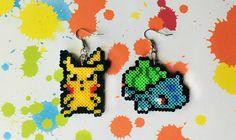 Pokemon Earrings  Mini Perler Beads Mini Hama by 8BitEarrings