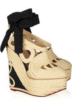 e36584bd2c Charlotte Olympia Rapunzel raffia and crepe de chine wedge pumps Wedge Shoes