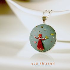 A Girl with The Birds. Original signed wearable art. Hand made polymer clay pendant by Eva Thissen Gallery, via Flickr
