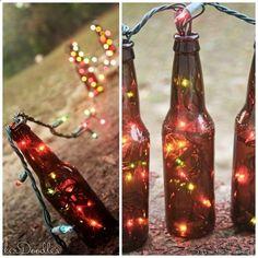 Beer Bottle Table Runner   28 Outdoor Lighting DIYs To Brighten Up Your Summer