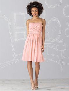 "Cocktail length strapless lux chiffon dress w/ draped bodice and matching 1.75"" matte satin belt at natural waist."