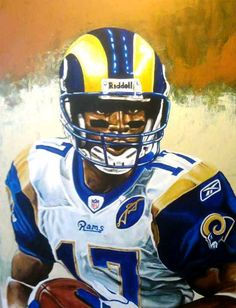 NFL Jerseys Wholesale - Marshall Faulk St. Louis Rams by Chris Brown | Sports Art ...