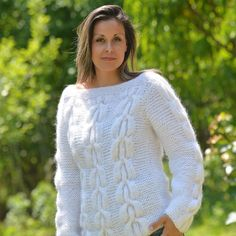 WHITE Hand Knit Mohair Sweater Fluffy Cable Knit Handmade Crewneck EXTRAVAGANTZA #EXTRAVAGANTZA #Crewneck