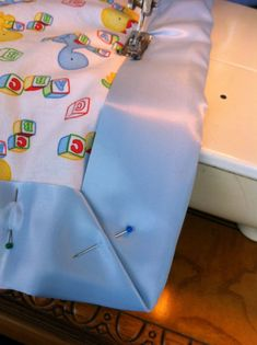 "how to make a simple baby ""quilt"" - good edging advice"