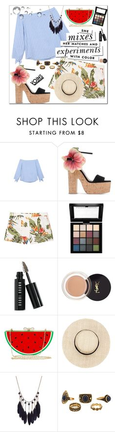 """""""YOINS CONTEST!!! BLUE STRIPED BLOUSE! WIN $30!!"""" by evel-yugyeom ❤ liked on Polyvore featuring Brian Atwood, MANGO, Kate Spade, NYX, Bobbi Brown Cosmetics, Yves Saint Laurent and Jessica McClintock"""