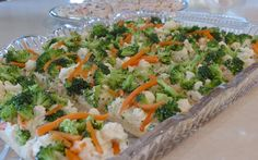 VEGIE PIZZA:   1 tube crescent rolls 8 ounces cream cheese, softened ½ cup mayonnaise 1 package ranch dressing mix Assorted chopped raw vegetables (I usually use cauliflower, broccoli, and shredded carrots - probably around 4 cups total)