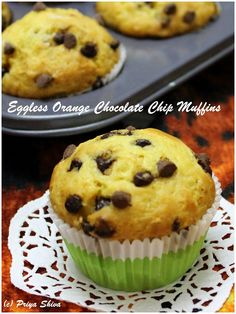 Eggless Orange Chocolate Chip Muffins - made with fresh orange juice and loaded with chocolate chips!