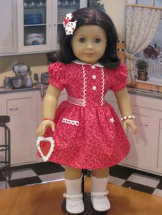 "Susie's 18"" Valentine's Day Dress for American Girls 
