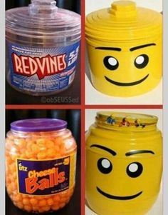 Lego containers diy from Red Vines and Cheez balls plastic containers