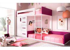 Habitación Infantil: Tren Nido con Armario y cajonera.   Dormitorio Infantil con camas Tren. La cama alta apoya sobre 2 módulos Block (Armario y un módulo