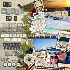 #papercraft #scrapbook #layout Vacation & Travel Scrapbook page. Okay if you must use photos, use one small one like this page uses it. Don't flood the page with photos you take away it's artsy look and all your work is for naught.