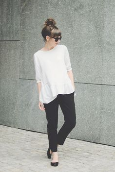 Long blouse + cropped slacks + flats