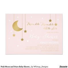 Pink Moon and Stars Baby Shower Invitation