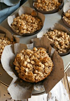 This recipe takes all the best aspects of baked oatmeal and puts them in muffin form with bananas and tahini for a delicious portable breakfast. Banana Oatmeal Muffins, Baked Oatmeal Cups, Baked Banana, Healthy Breakfast On The Go, Edible Creations, Potato Cakes, Real Food Recipes, Healthy Recipes, Tahini