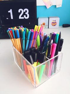 for-your-dream: 9.5.2015 1.27 p.m. - New desk organiser from MUJI :) So very pleased with it!! Organisation is always good. But I have too many pens oh my :D