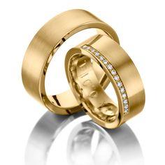 Eheringe 123gold MyStyle - Legierung: Gelbgold 585/- Breite: 7,00 - Höhe: 1,50 - Steinbesatz: 15 Brillanten zus. 0,15 ct. tw, si (Ring 1 mit Steinbesatz, Ring 2 ohne Steinbesatz). Alle Eheringe sind individuell nach Ihren Wünschen konfigurierbar.
