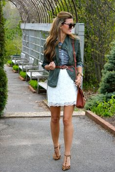 lace skirt, black/white striped top, olive cargo jacket, leopard flats