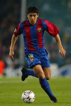 Juan Roman during his Barça days.
