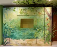 Hand-painted wardrobe with jungle mural for themed bedroom, designed and painted by Cheshire mural artists - One Red Shoe Please click below for close ups Bedroom Themes, Bedroom Wall, Kids Bedroom, Childrens Wall Murals, Painted Wardrobe, Hand Painted Walls, Bespoke Design, Modern Interior, Annie
