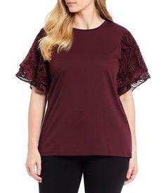 061ac53f39f4 MICHAEL Michael Kors Plus Size Burnout Velvet Flutter Sleeve Knit Jersey Tee #Size, #Burnout, #Kors