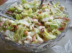 Cauliflower Lettuce Salad Recipe Salads with lettuce, cauliflower, bacon, parmesan cheese, dressing, mayonnaise, sugar