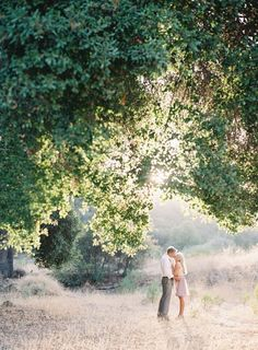 Outdoor engagement shoot inspiration. Shooting with scale in mind - Love the big tree, soft lighting and how far back the couple is so the scenery is captured