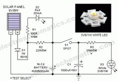 This portable solar lantern circuit uses 6 watt solar panels are now widely available. With the help of such a photo-voltaic panel we can construct Electrical Projects, Solar Projects, Arduino Projects, Electronic Circuit Design, Electronic Engineering, Solar Powered Lanterns, Solar Lanterns, Electronics Basics, Electronics Projects
