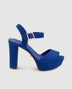 Sandalias de tacón de mujer de Schutz de piel azules