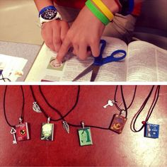 Mini book necklaces #nerdtastic #bookcrafts #booklovers #teencrafts