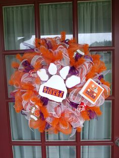 Clemson Tigers Deco Mesh Door Wreath by Crazyboutdeco on Etsy, $99.00 #Crazyboutdeco @crazyboutdeco