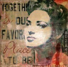 Representa a la mujer serena, valiente, vivida,  que esta donde quiere estar. Encaustic en bastidor 70X70   Laura Mataix