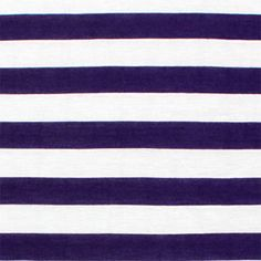 "Royal Purple and White Stripe Cotton Jersey Blend Knit Fabric - Royal purple color and white stripe cotton jersey poly rayon blend knit.  Fabric is soft with a nice drape and stretch, light to mid weight.  Stripes measure 1"".  ::  $6.00"
