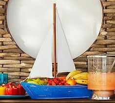 Sailboat serving dish,Pottery Barn