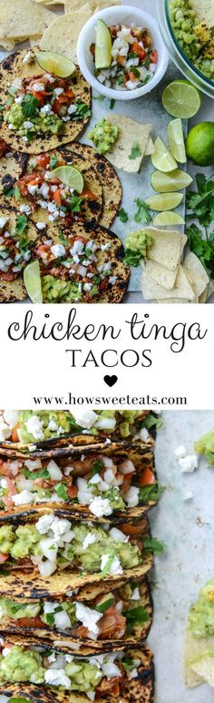 Chicken Tinga Tacos with Grilled Corn Guacamole by @howsweeteats I howsweeteats.com #chickentinga #tacos #dinner