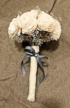 Custom Mini Bouquet- Ivory Silver Wedding Bridal Bouquet, Bridesmaid Bouquet, Alternative Flower Bouquet, Keepsake Bouquet. $49.00, via Etsy.