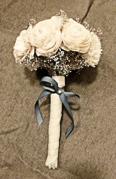 Custom Mini Bouquet- Ivory Silver Wedding Bridal Bouquet, Bridesmaid Bouquet, Alternative Flower Bouquet, Keepsake Bouquet. $49.00, via Etsy.