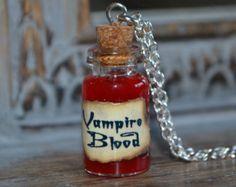 Vampire blood Potion Bottle Necklace - walking dead true blood vampire diaries