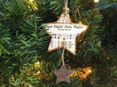Star Ornament, Rustic Christmas Music Ornament, Christmas Hymn Ornament, Sheet Music Ornament, Rustic Ornament, Wood Ornament, Silent Night by AtHomeWithWords on Etsy https://www.etsy.com/listing/475236132/star-ornament-rustic-christmas-music
