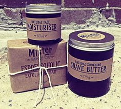The Mister Brand's exfoliating Espressoholic coffee soap, facial moisturiser and shaving butter...sweet!
