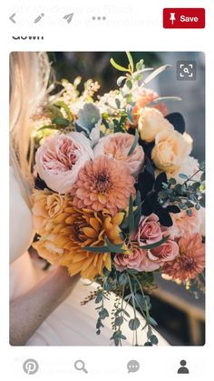 Love this bouquet the most. Minus yellow but can keep mustard. Add deep burgundy and white or off white, orange, light pink, mauve, dusty rose. I like how the colors are muted and not bright. Add in the greenery to have texture.