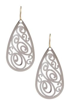 Precious Metals Two-Tone Cutout Teardrop Dangle Earrings sterling silver & 14k gold