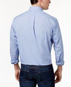 Club Room Estate Wrinkle Resistant French Blue Microcheck Dress Shirt - Blue 16.5 34/35