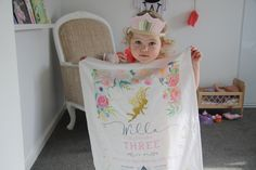 """Fairy Party Tea Towel Invitations  Little Willa recently celebrated her 3rd birthday with a fairy party surrounded by her closest friends and family and the best part was handing out her tea towel invitations made by us!  Her mum Sarah said """"we were thrilled when the tea towel invitations arrived and Willa loved helping me hand deliver them to our friends"""