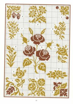 flowers and leaves Cross Stitch Borders, Cross Stitch Rose, Cross Stitch Flowers, Cross Stitch Charts, Cross Stitching, Cross Stitch Patterns, Knitting Charts, Knitting Patterns, Crochet Patterns