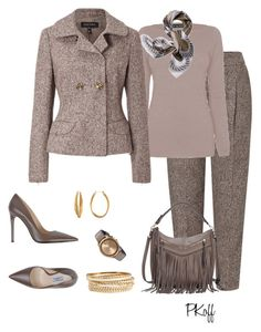 """""""Shades of Taupe!"""" by pkoff ❤ liked on Polyvore featuring ESCADA, Prada, James Lakeland, Diane Von Furstenberg, BP., Movado and Tory Burch"""