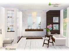 Modern and classy, with some retro patterns and flowers to beautify the ambiance, we hope your sims enjoy this bathroom . Found in TSR Category 'Sims 4 Bathroom Sets'